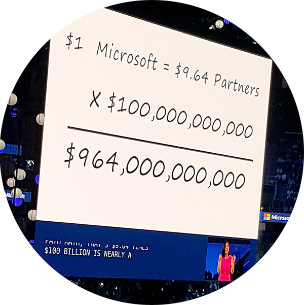 Partners generate $10 for every $1 in top-line Microsoft revenue annually.